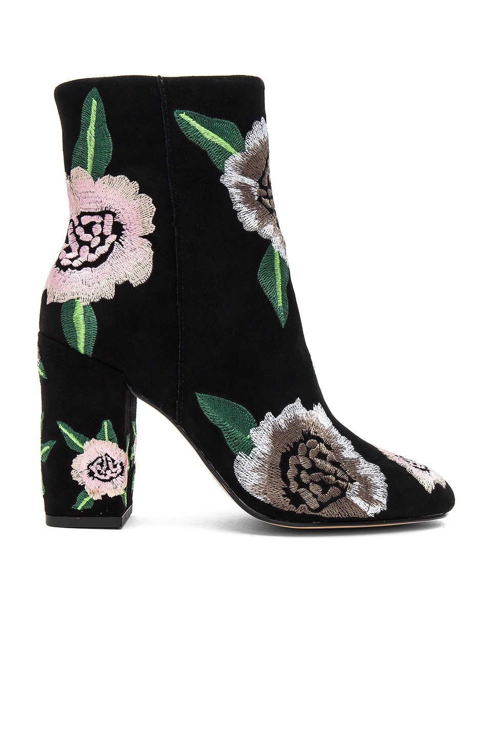 Rebecca Minkoff Bryce Embroidered Bootie in Black & Floral Kid Suede