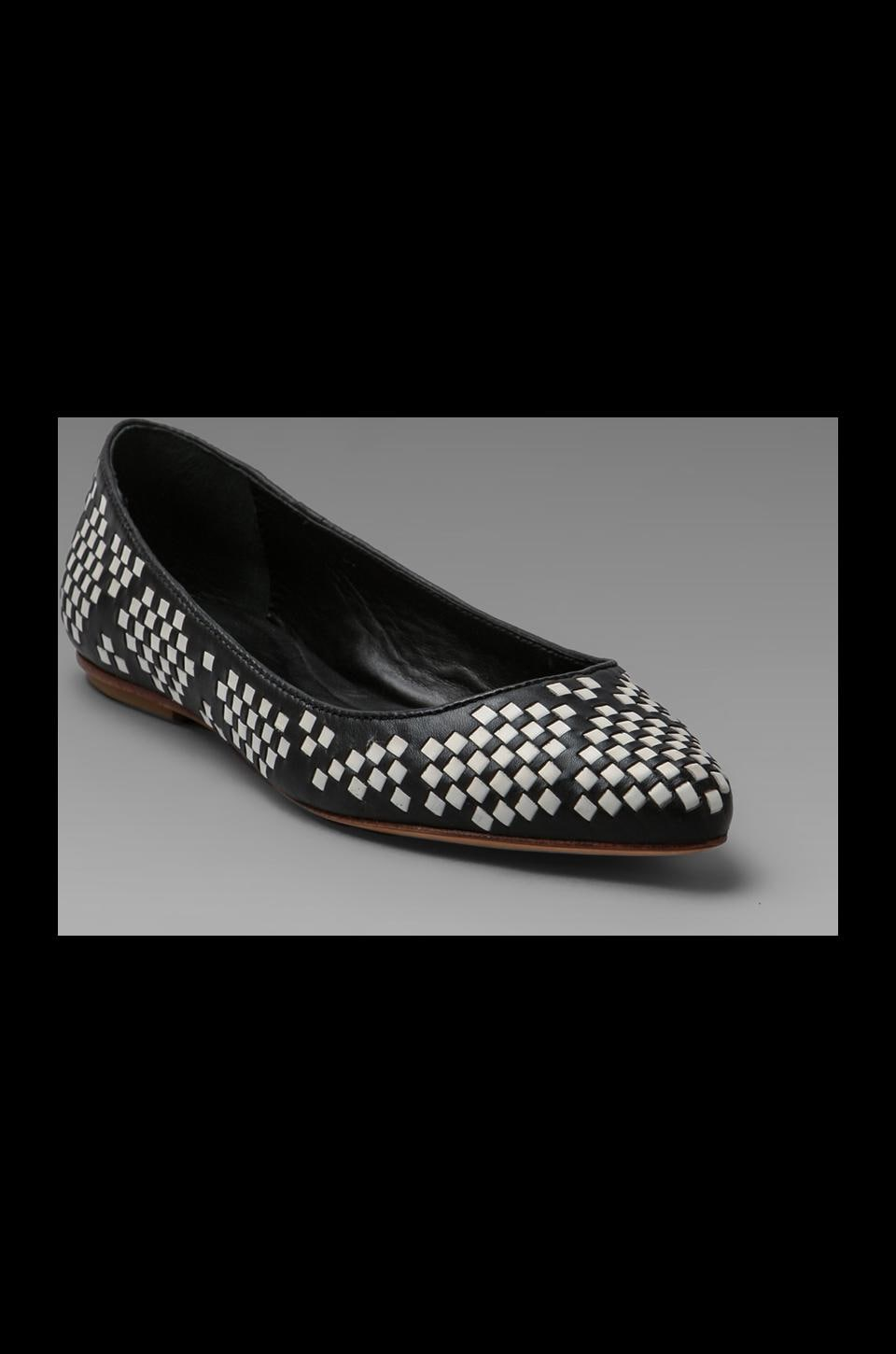 Rebecca Minkoff Idelle Flat in Black/White