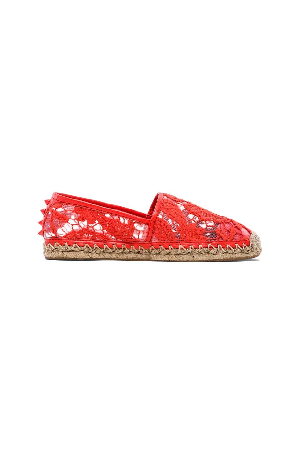 Rebecca Minkoff Genny Flat in Hot Red Woven Lace
