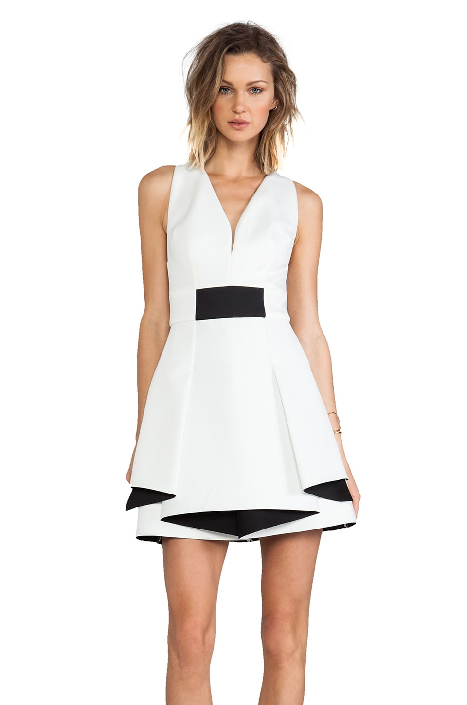 Robert Rodriguez Bonded Neo Flounce Dress in White