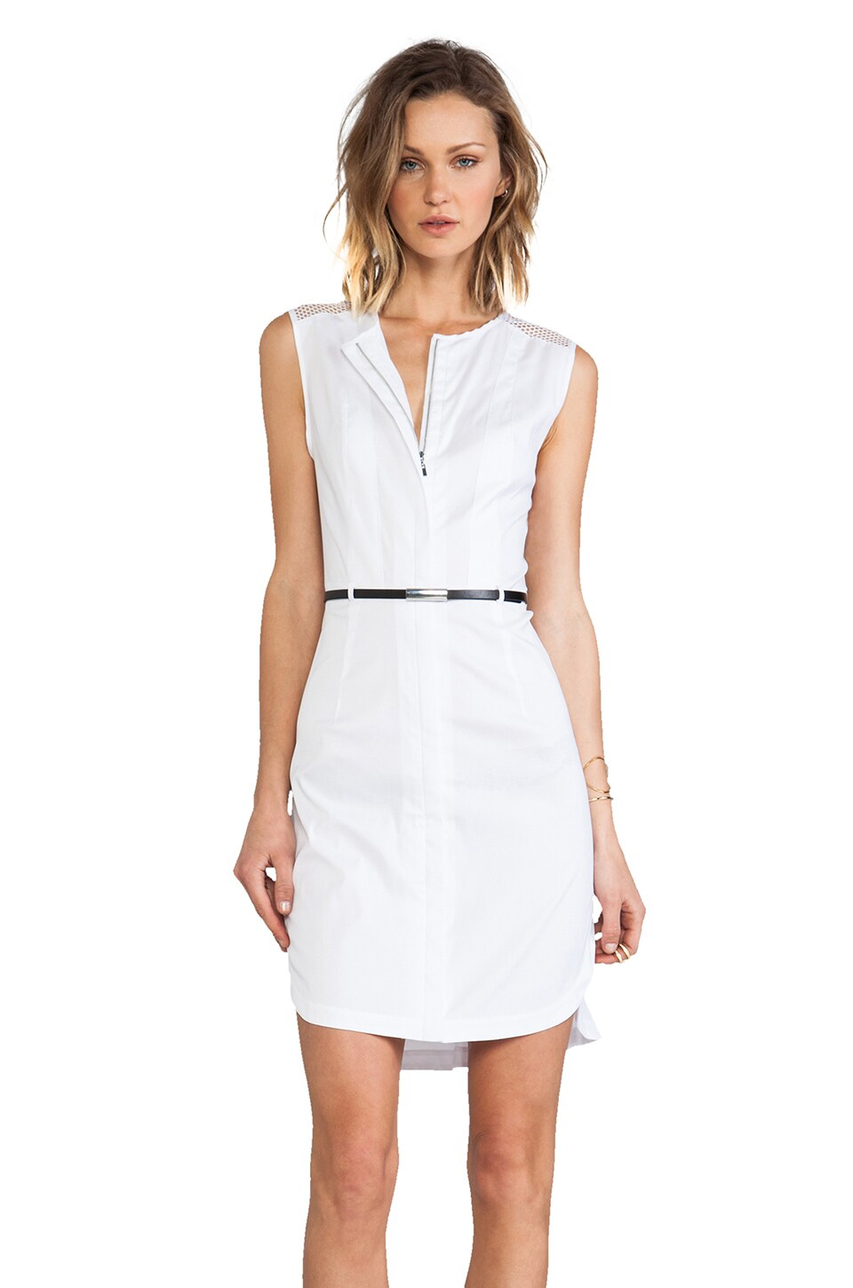Robert Rodriguez Net Insert Shirt Dress in White