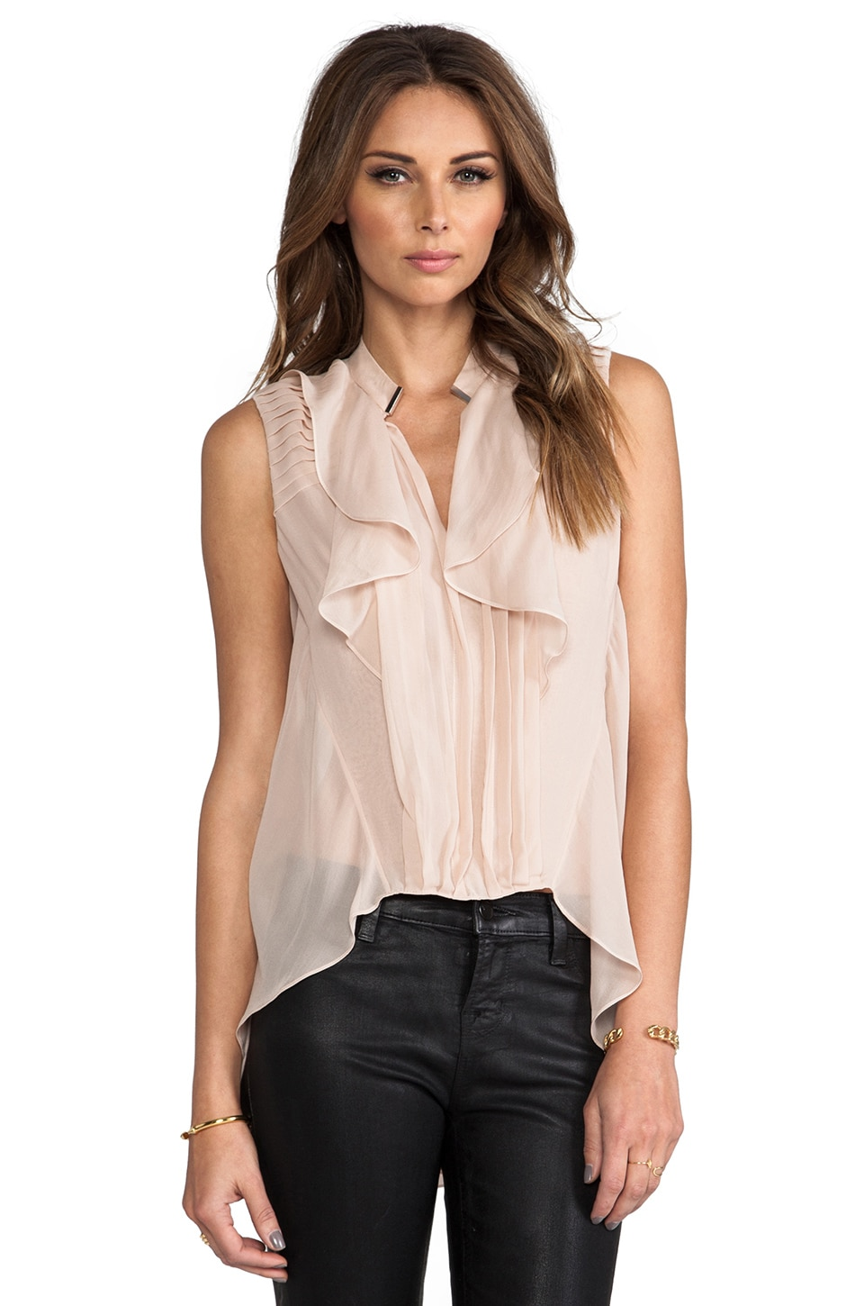 Robert Rodriguez Pleated Silk High Low Top in Blush