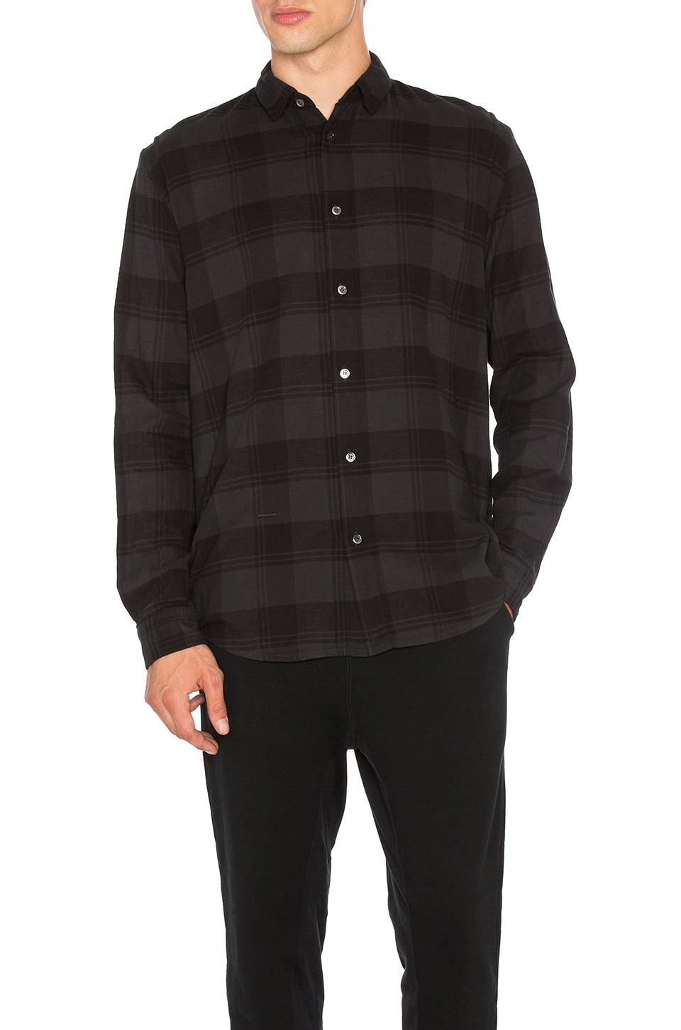 Robert Geller Plaid Dress Shirt in Charcoal