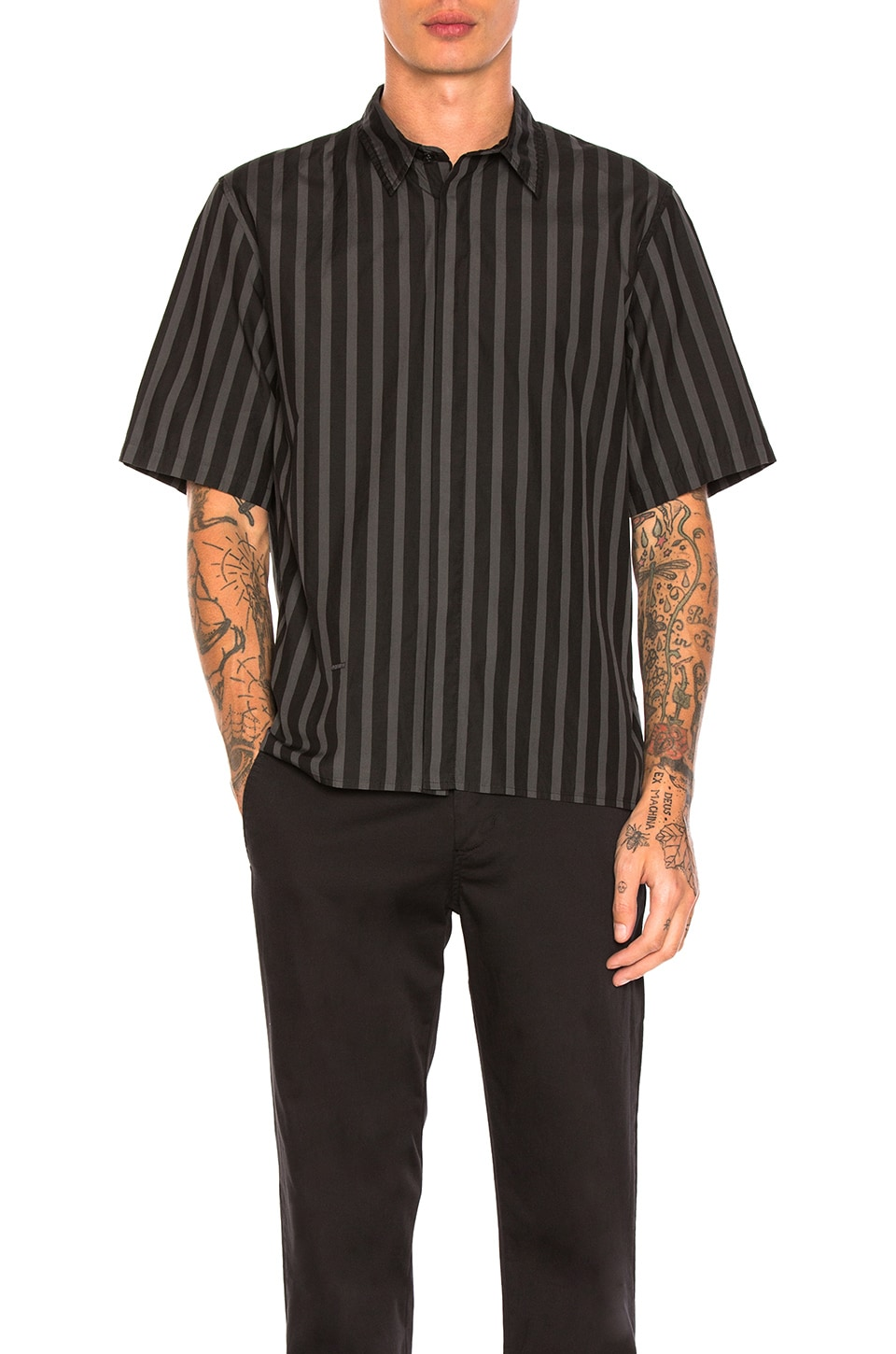 Over Dyed Stripe Shirt by Robert Geller