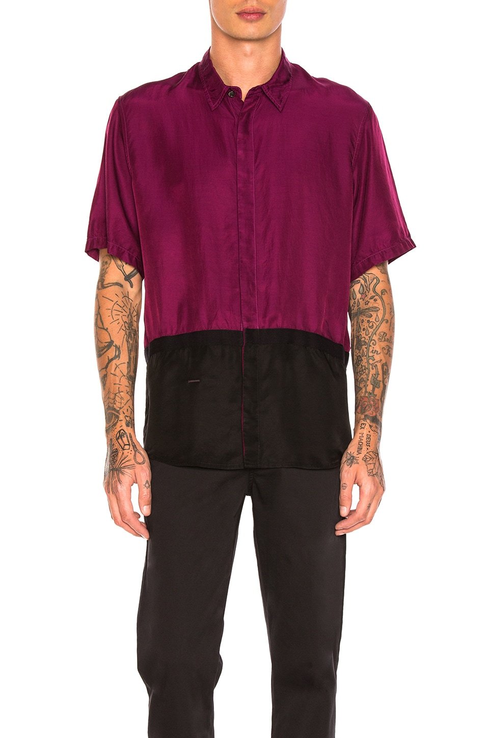 Photo of Two Toned Taped Shirt by Robert Geller men clothes