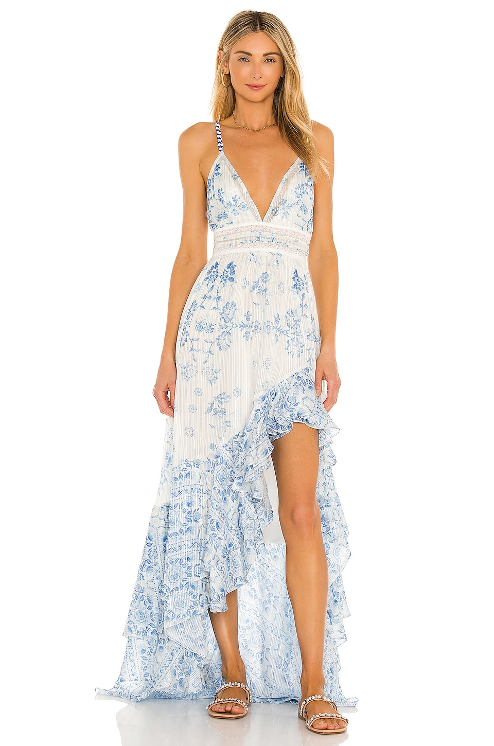 ROCOCO SAND Leas High Low Dress in White & Blue