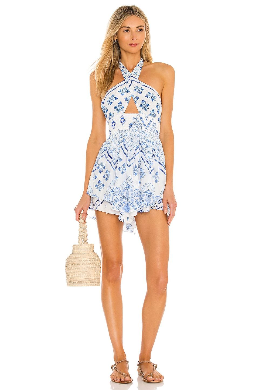ROCOCO SAND Leas Cutout Dress in White & Blue