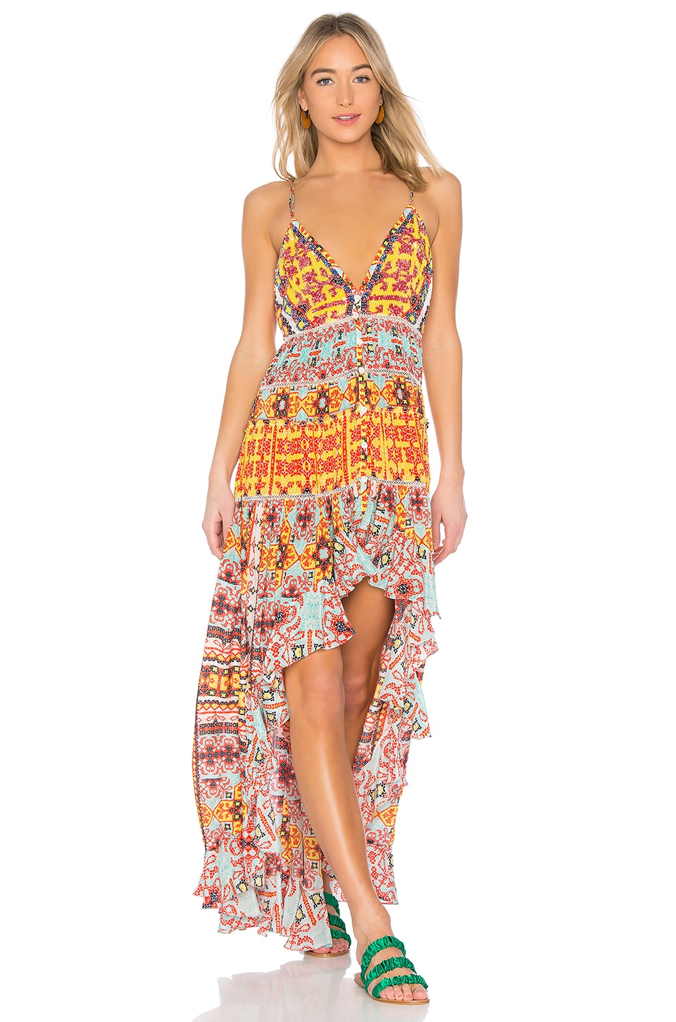 ROCOCO SAND Ruffled High-Low Maxi Dress