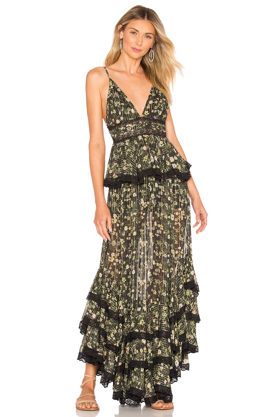 ROCOCO SAND Tiered Long Dress in Black Floral