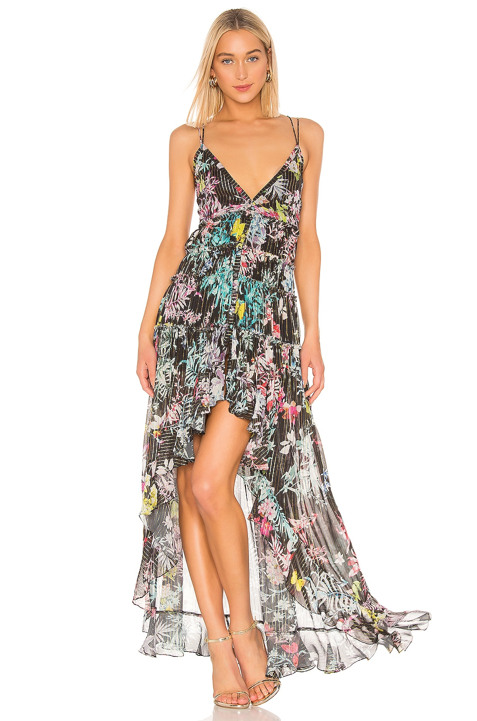 ROCOCO SAND Moonlight Printed Maxi Dress in Black