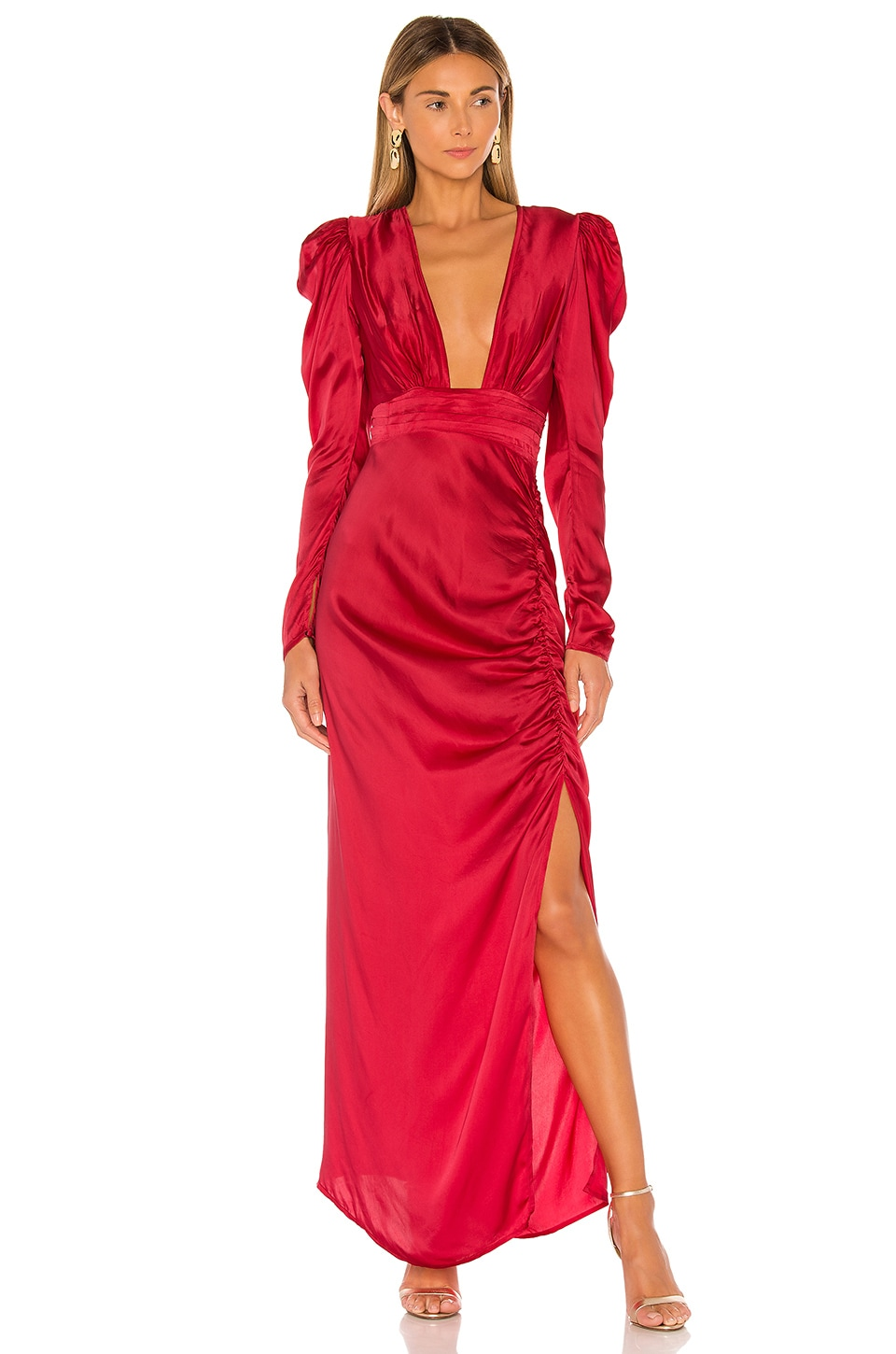 ROCOCO SAND x REVOLVE Poppy Deep V Gown in Bright Red