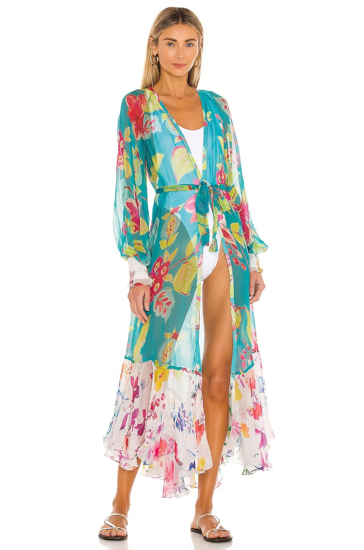 ROCOCO SAND Leia Kimono in Turquoise & Off White