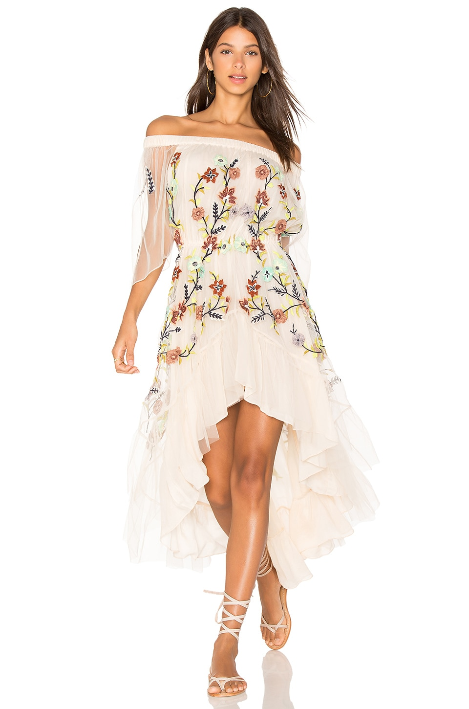 ROCOCO SAND Off the Shoulder Dress in Nude