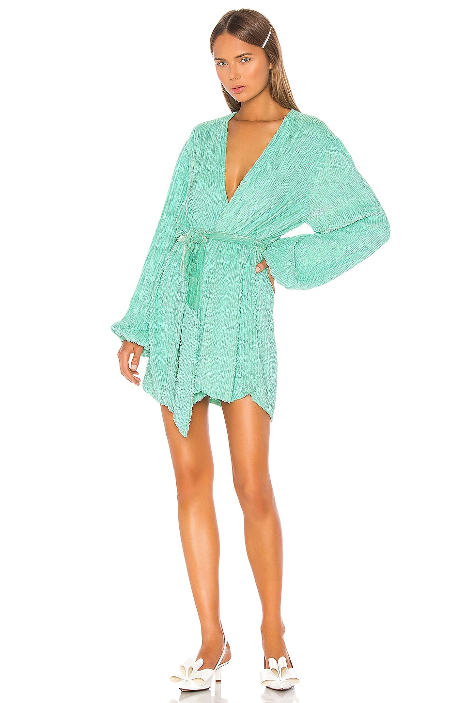 retrofete Gabrielle Robe Dress in Metallic Mint