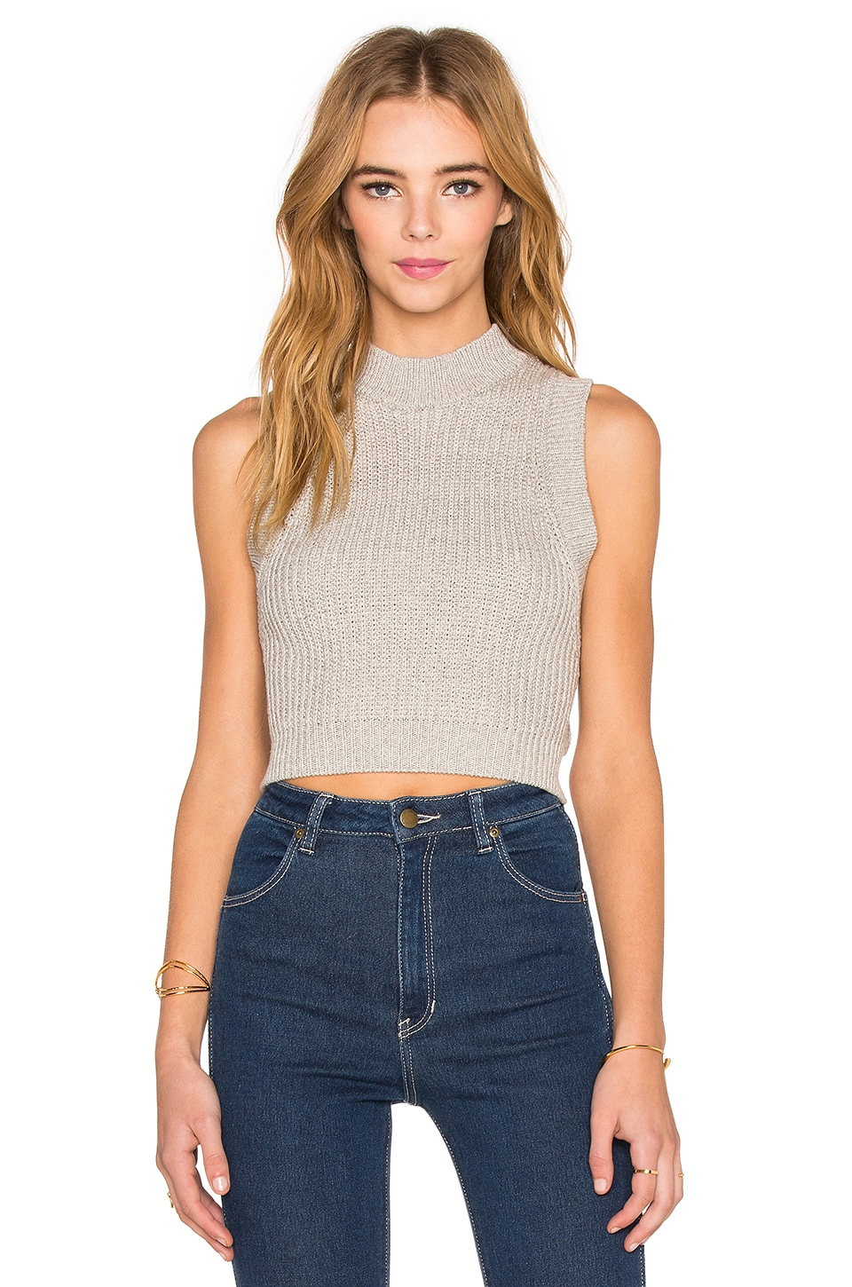 ROLLA'S Knit Crop Tank in Grey