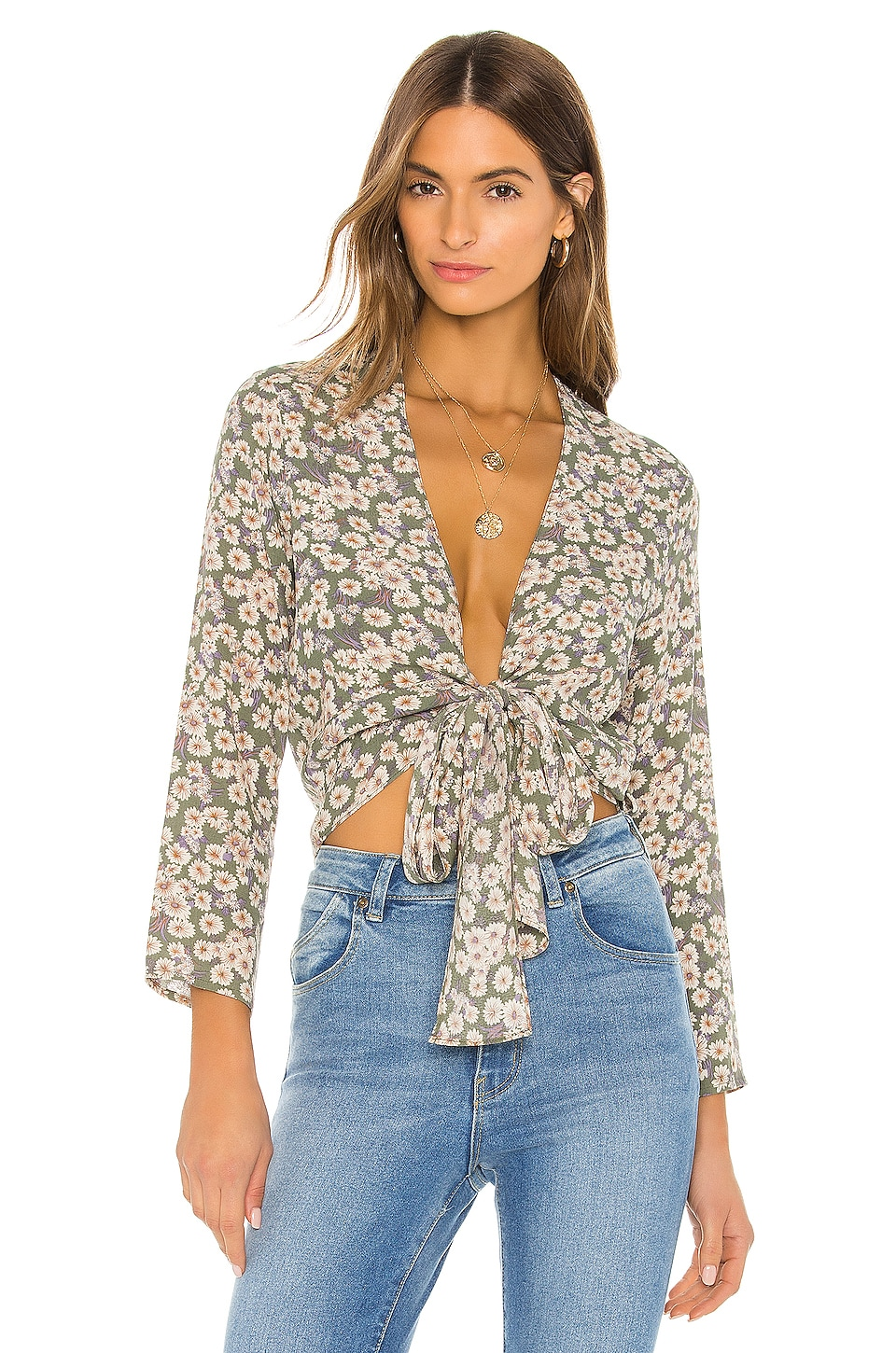 ROLLA'S Delilah Daisies Blouse in Olive