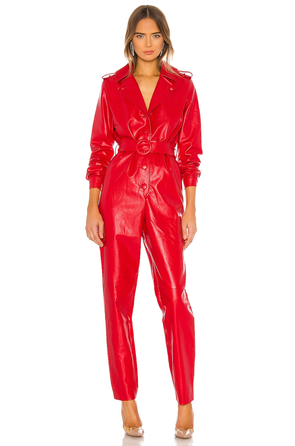 Ronny Kobo Alie Faux Leather Jumpsuit in Red