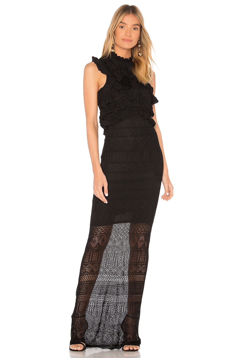 Ronny Kobo Bethanny Ruffle Pointelle Knit Dress in Black