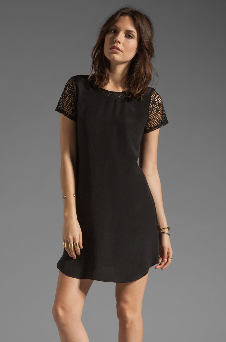 Rory Beca Domaine Perforated Tee Dress in Black