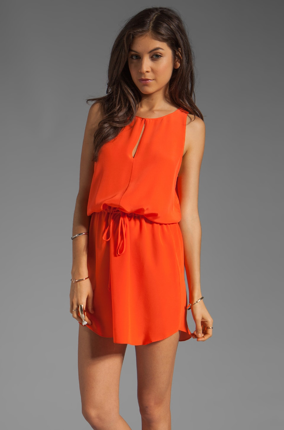 Rory Beca Aventure Keyhole Flounce Dress in Tangerine