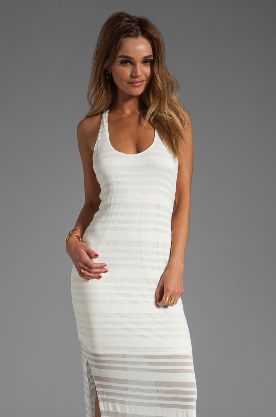Rory Beca Fleury Side Slit Gown in White