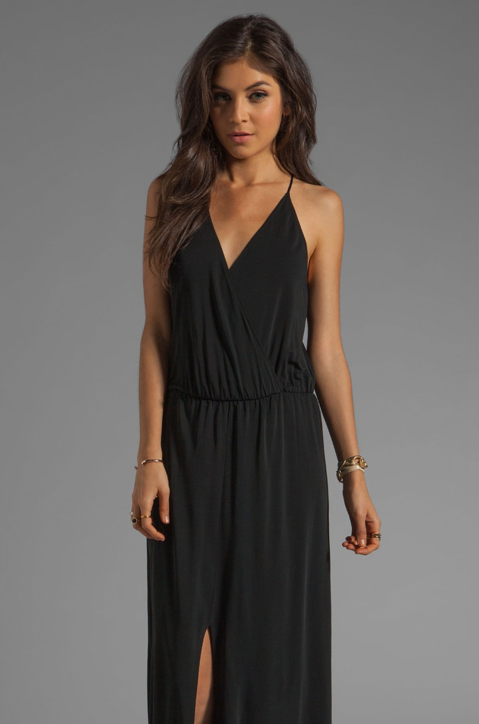 Rory Beca Hess Drape Wrap Gown in Black