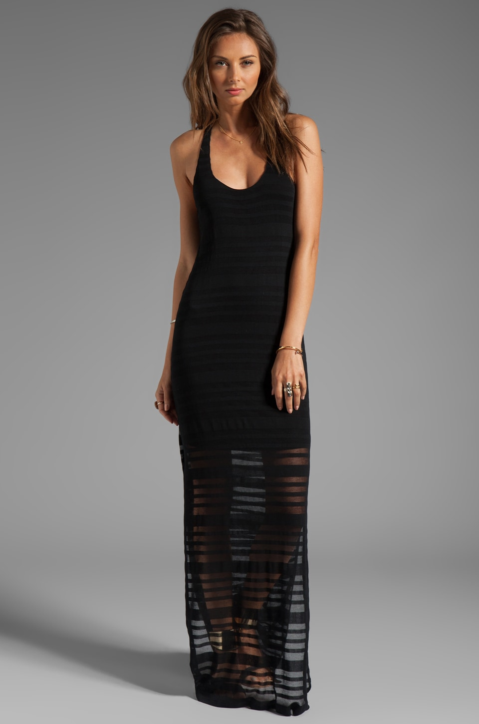 Rory Beca Fluery Side Slit Gown in Black