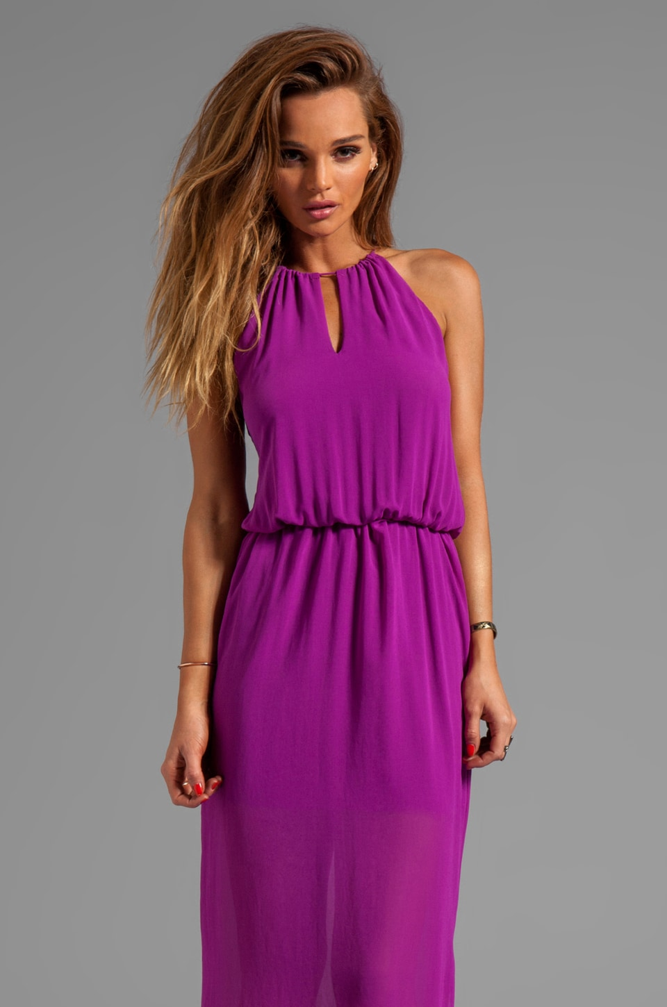 Rory Beca Ruth Open Back Gown in Magenta