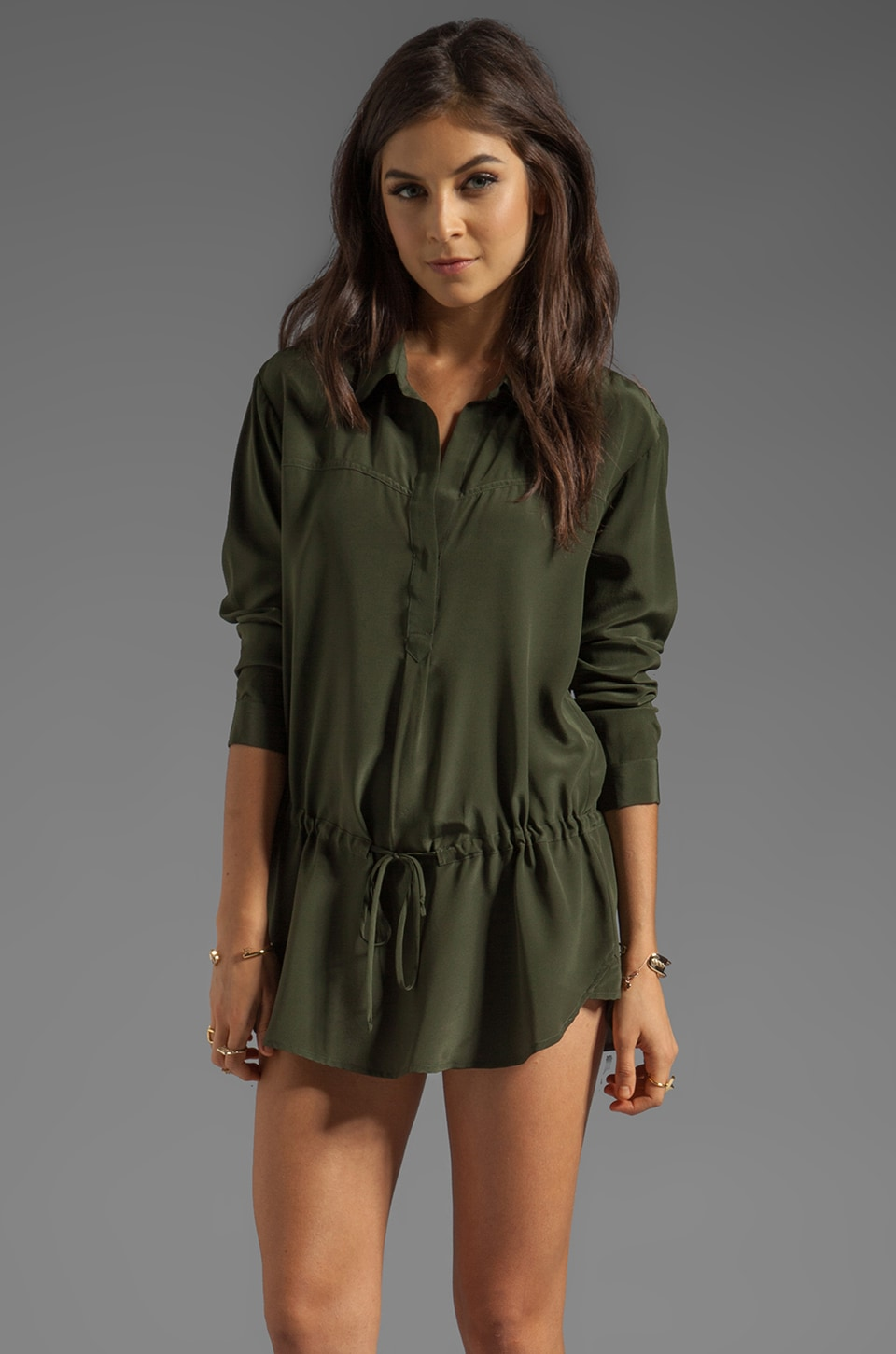 Rory Beca Grace Drawstring Dress in Army