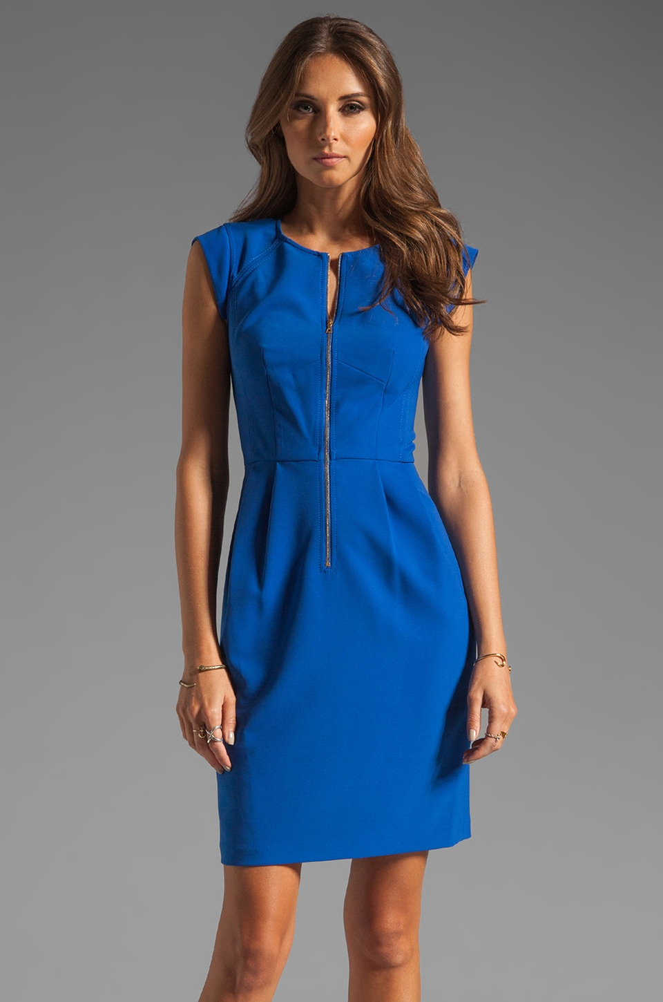 Rebecca Taylor Matte Crepe Short Sleeve Dress in Electric Blue