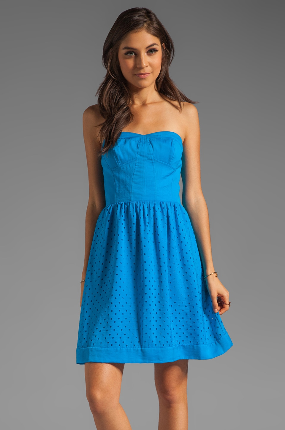 Rebecca Taylor Lasercut Strapless Dress in Turquoise