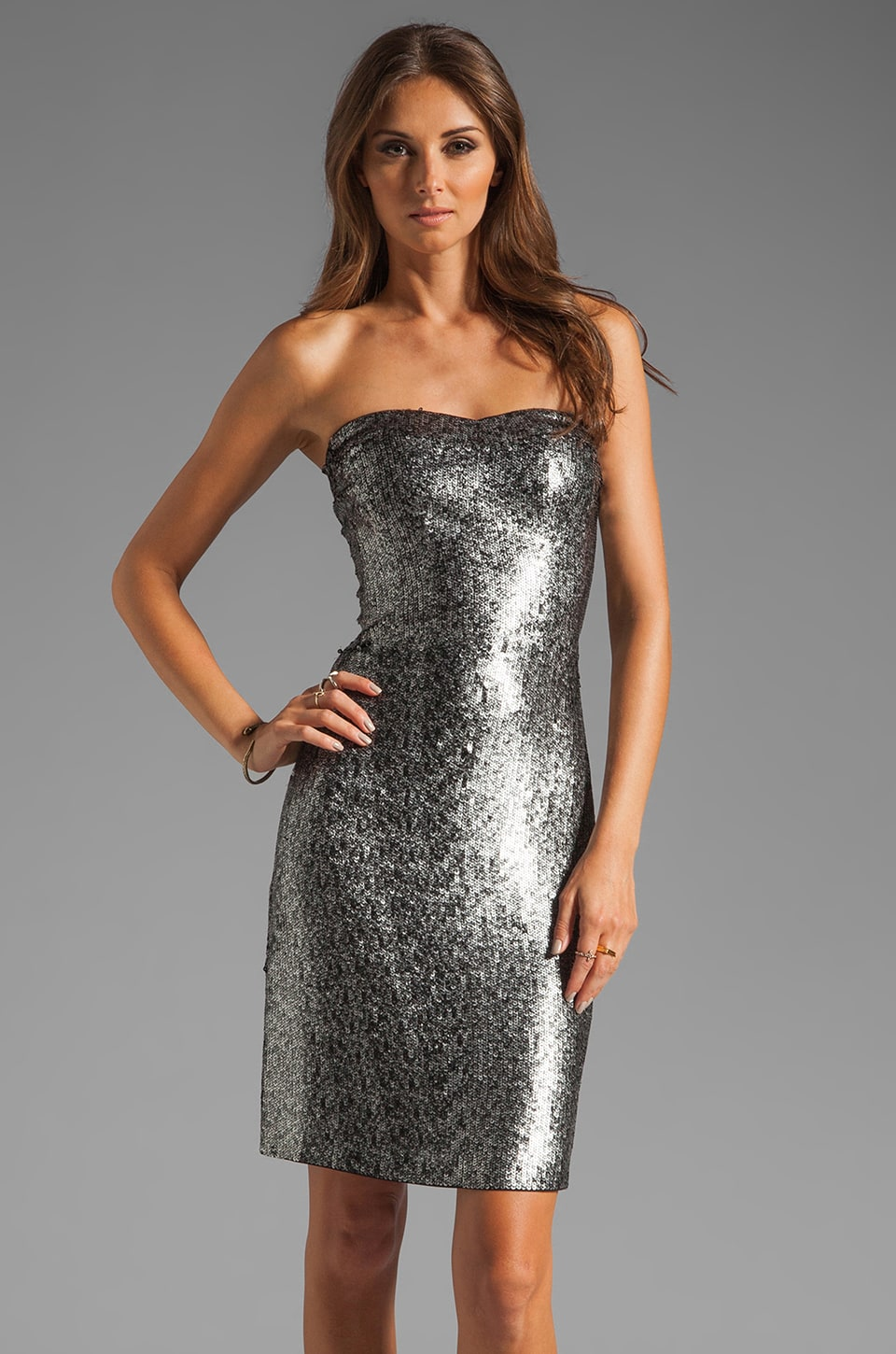 Rebecca Taylor Sequin Strapless Dress in Antique Silver
