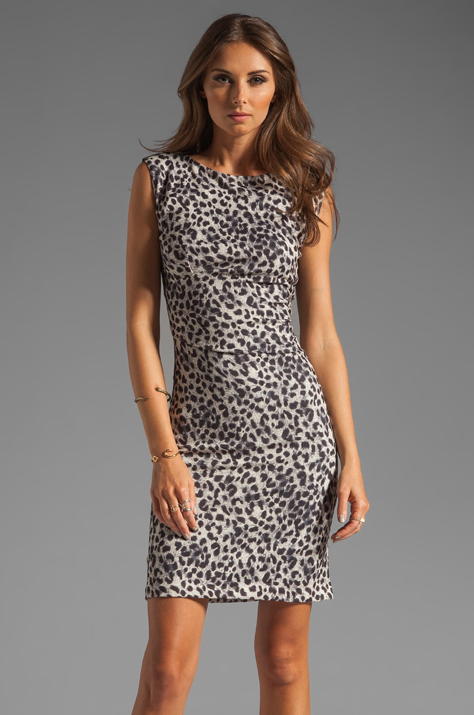 Rebecca Taylor Leopard Print Dress in Black and Cream
