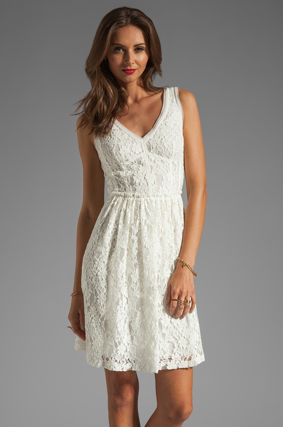 Rebecca Taylor Lace V Neck Dress in Cream