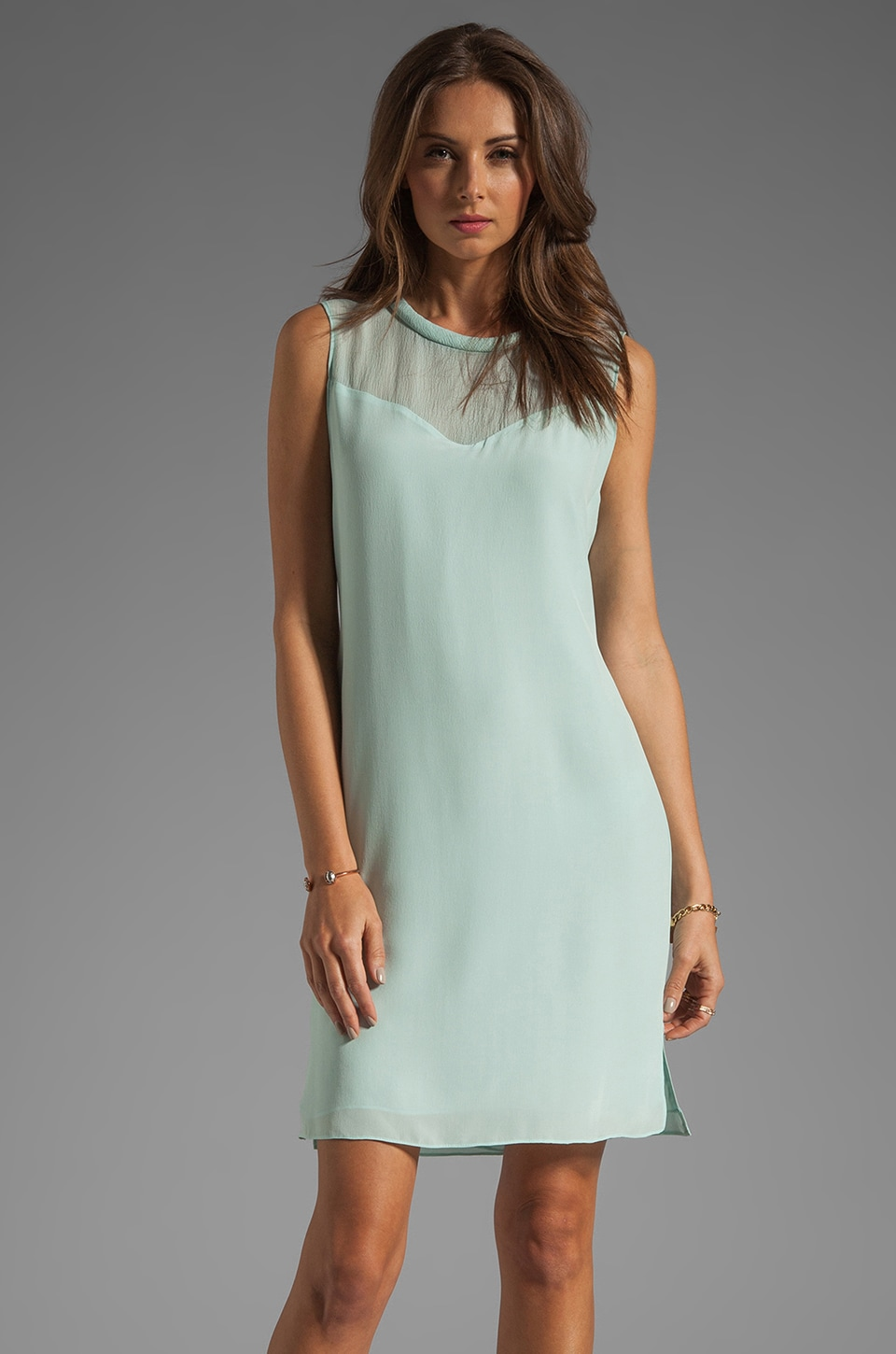Rebecca Taylor Classic Shift Dress in Mist