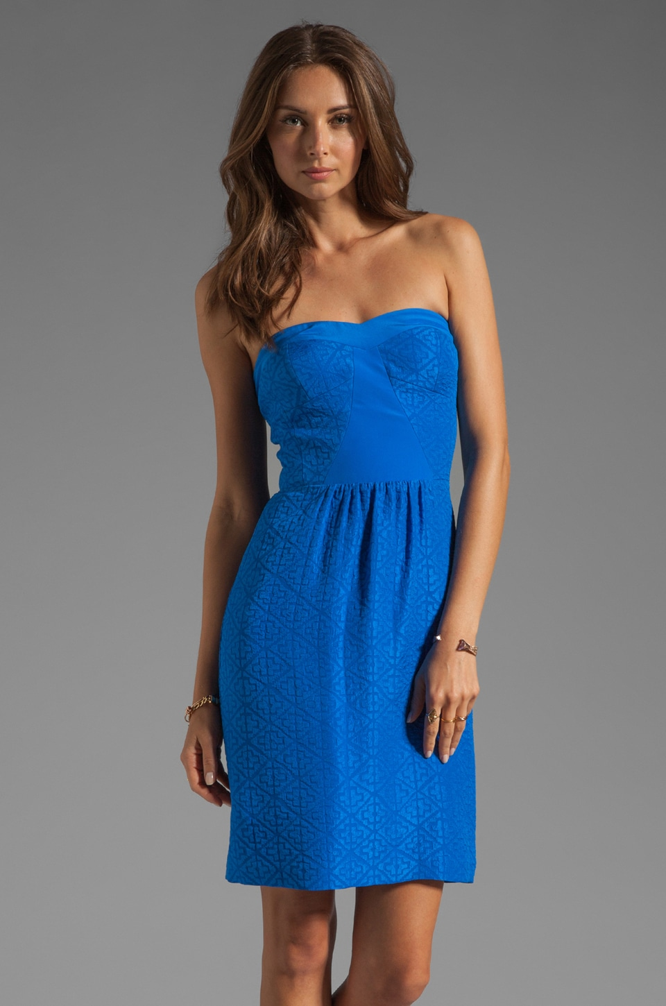 Rebecca Taylor Aztec Strapless Dress in Sapphire