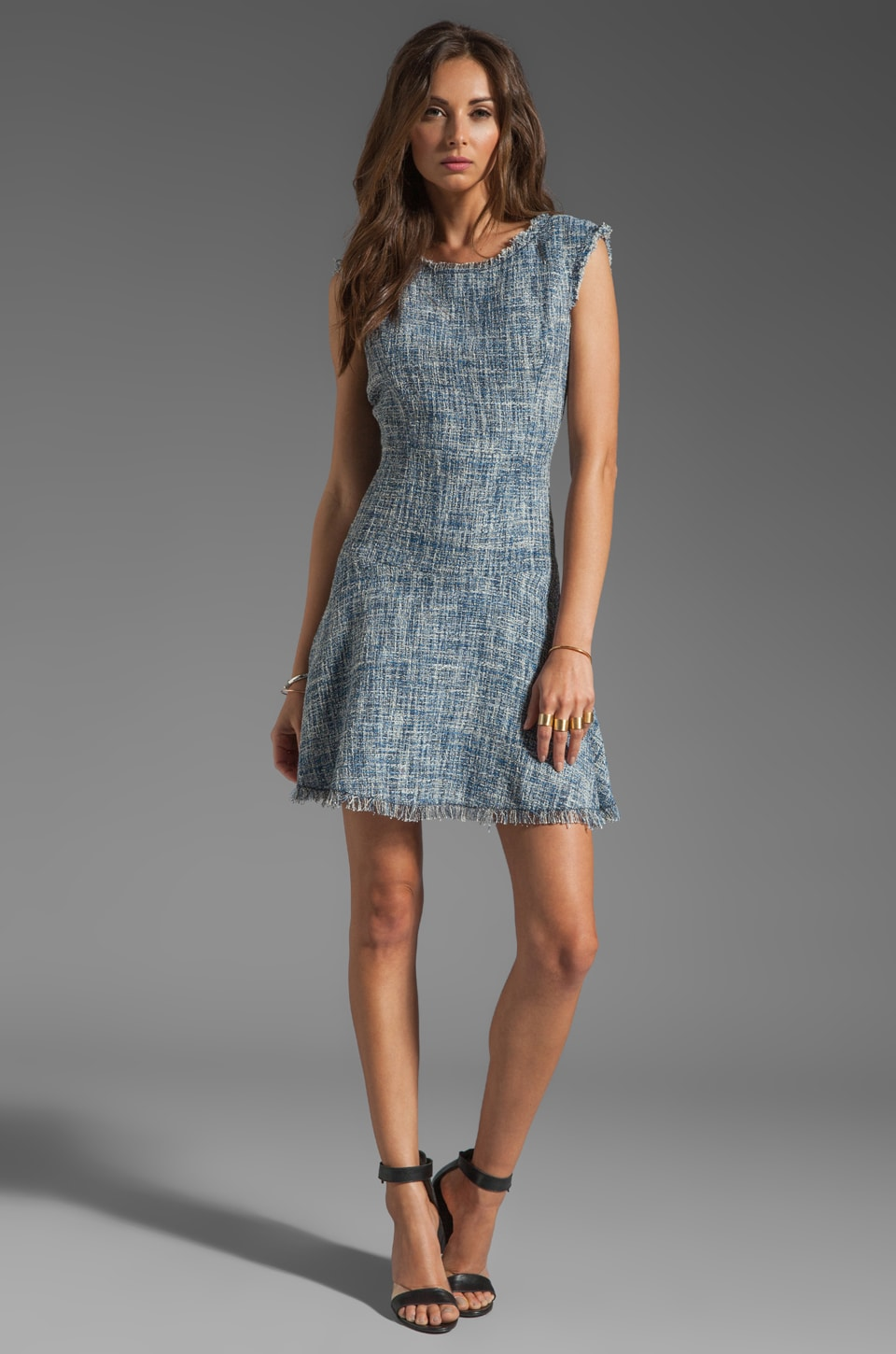 Rebecca Taylor Frayed Fit & Flared Dress in Navy