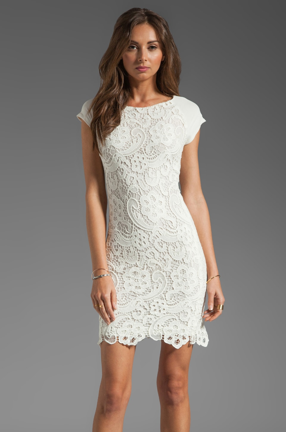 Rebecca Taylor All Lace Dress in Cream