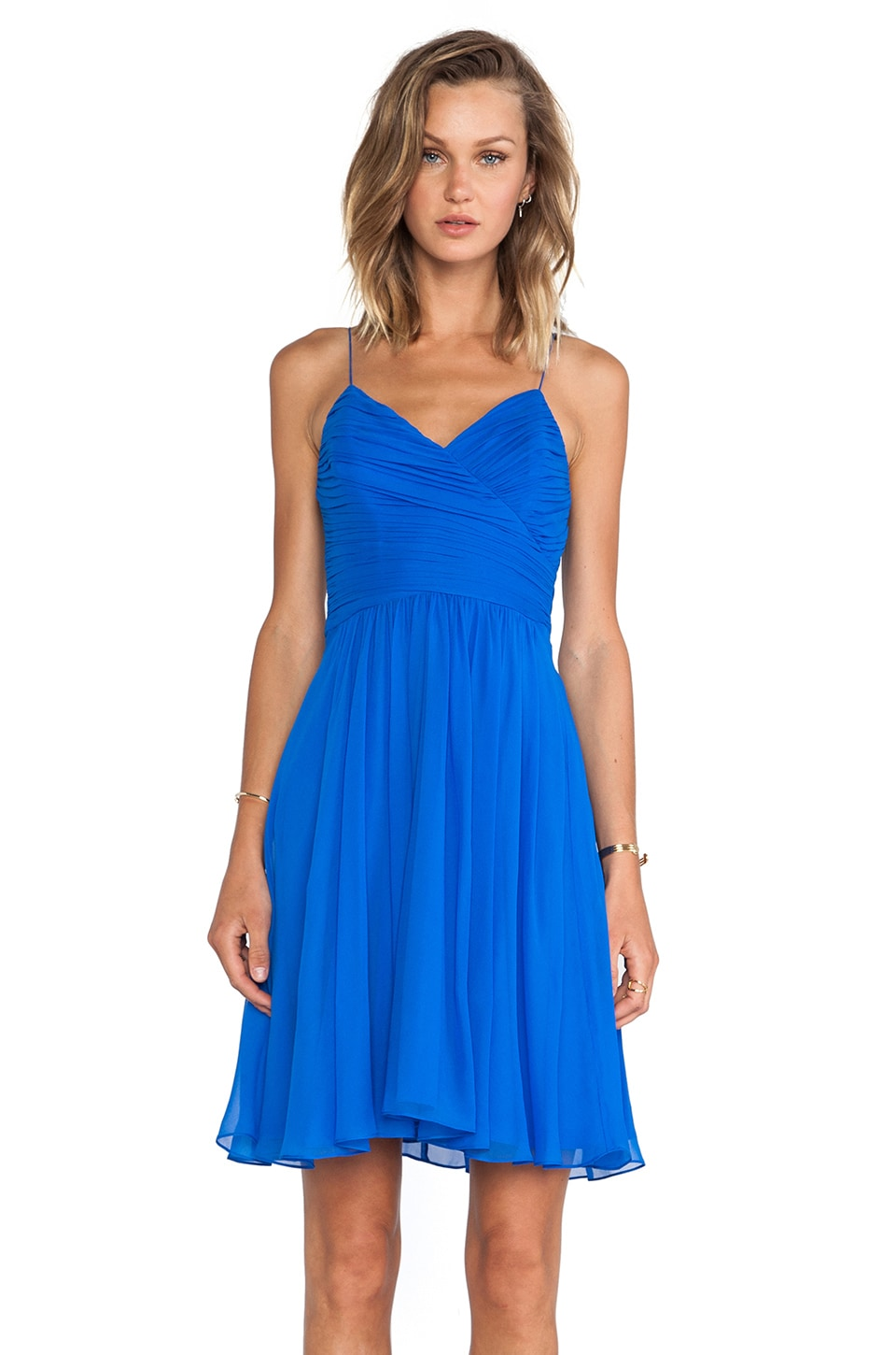 Rebecca Taylor Wrap Front Dress in Cobalt