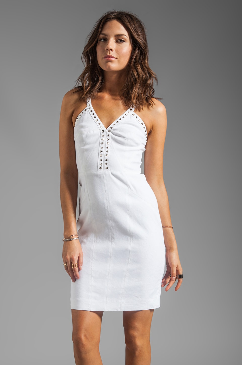 Rebecca Taylor Deep V Dress in White