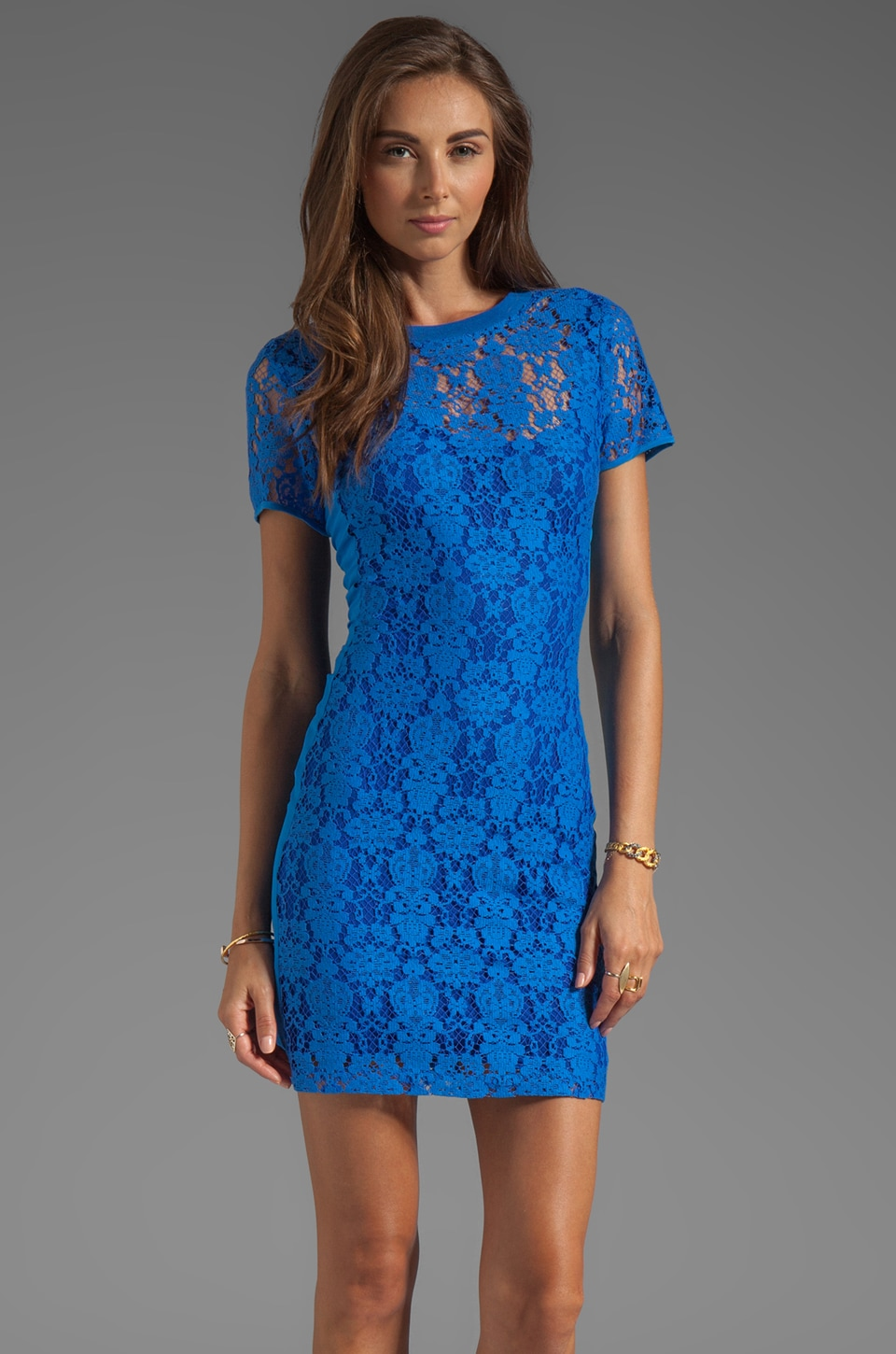 Rebecca Taylor Lace Dress in Bright Blue