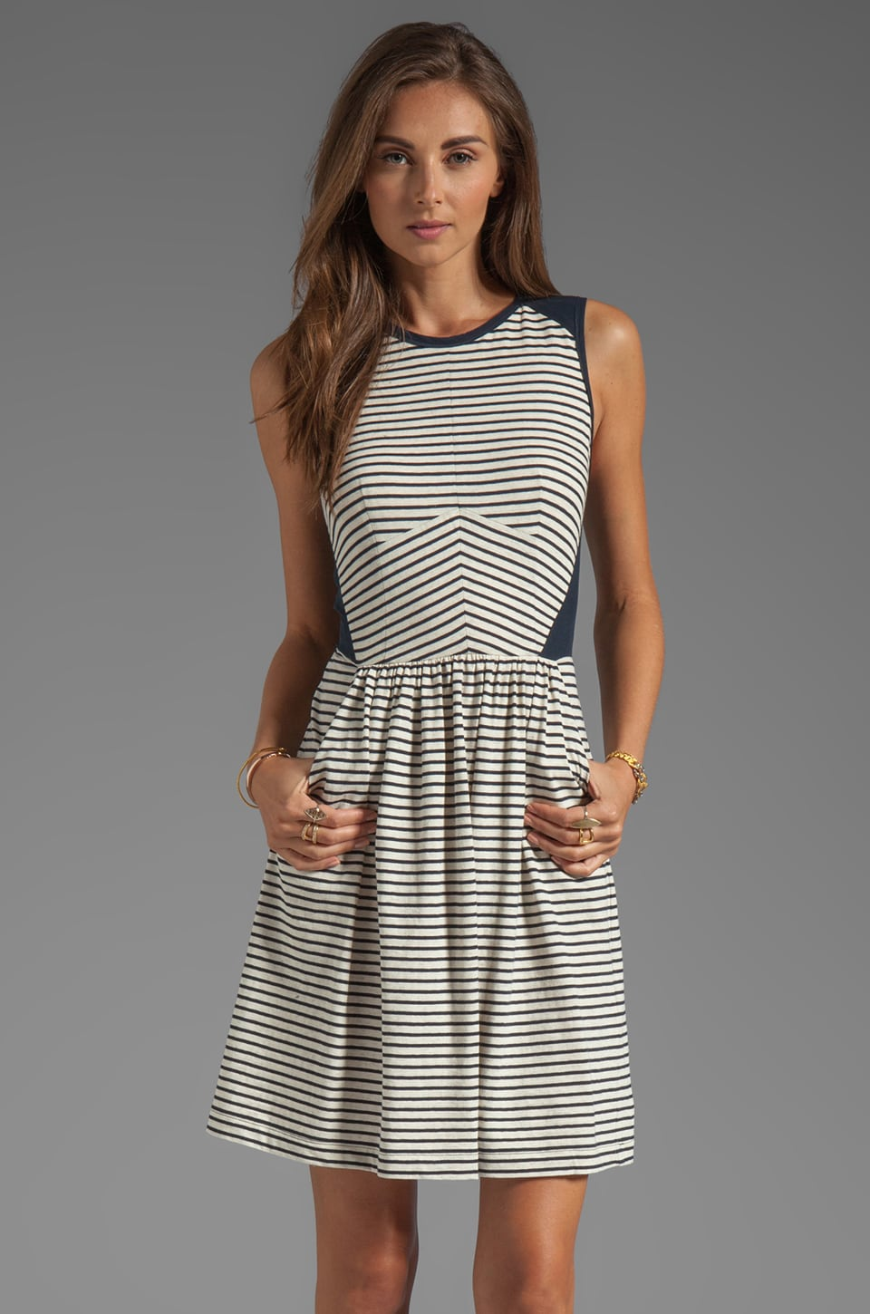Rebecca Taylor Striped Dress in Navy Stripe