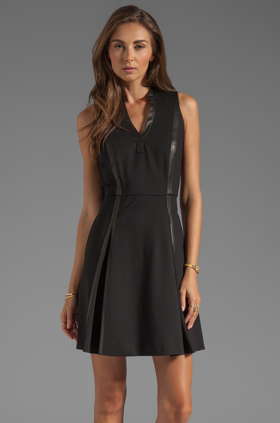 Rebecca Taylor Leather Panel Dress in Black