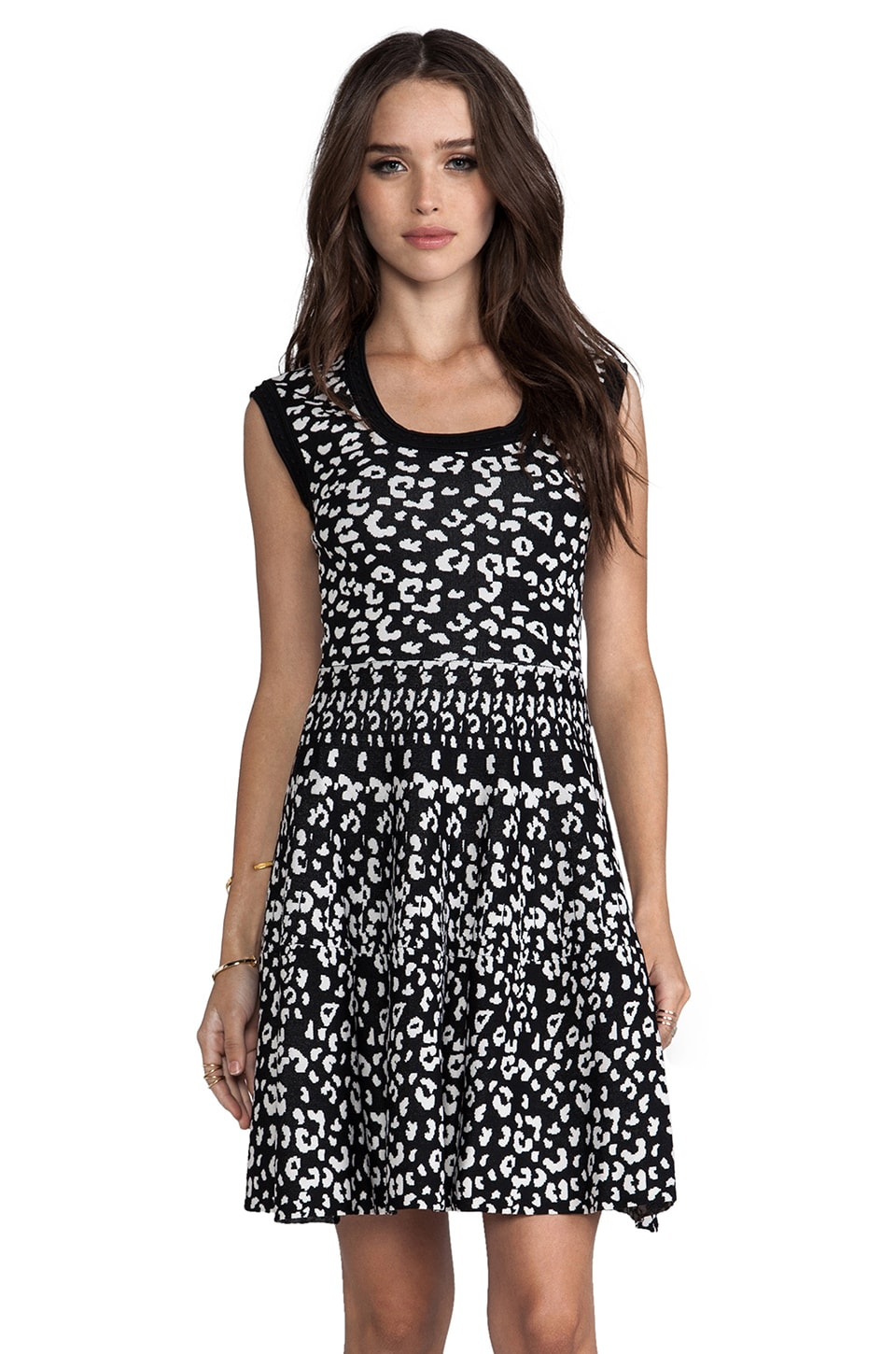 Rebecca Taylor Leopard Stretch Dress in Black/Shady