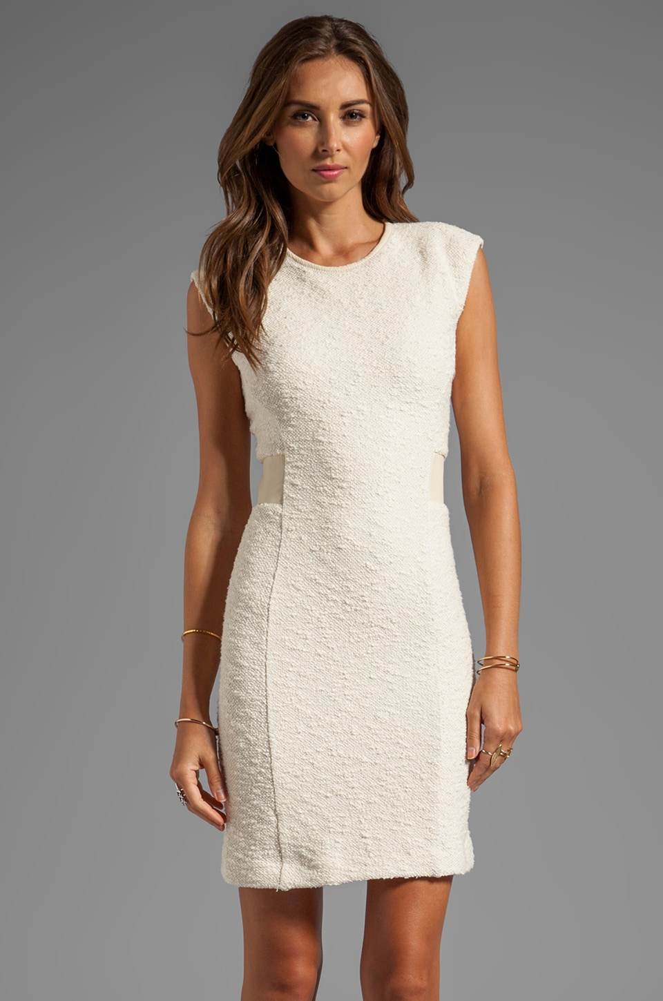 Rebecca Taylor Boucle Detailed Sheath Dress in Cream