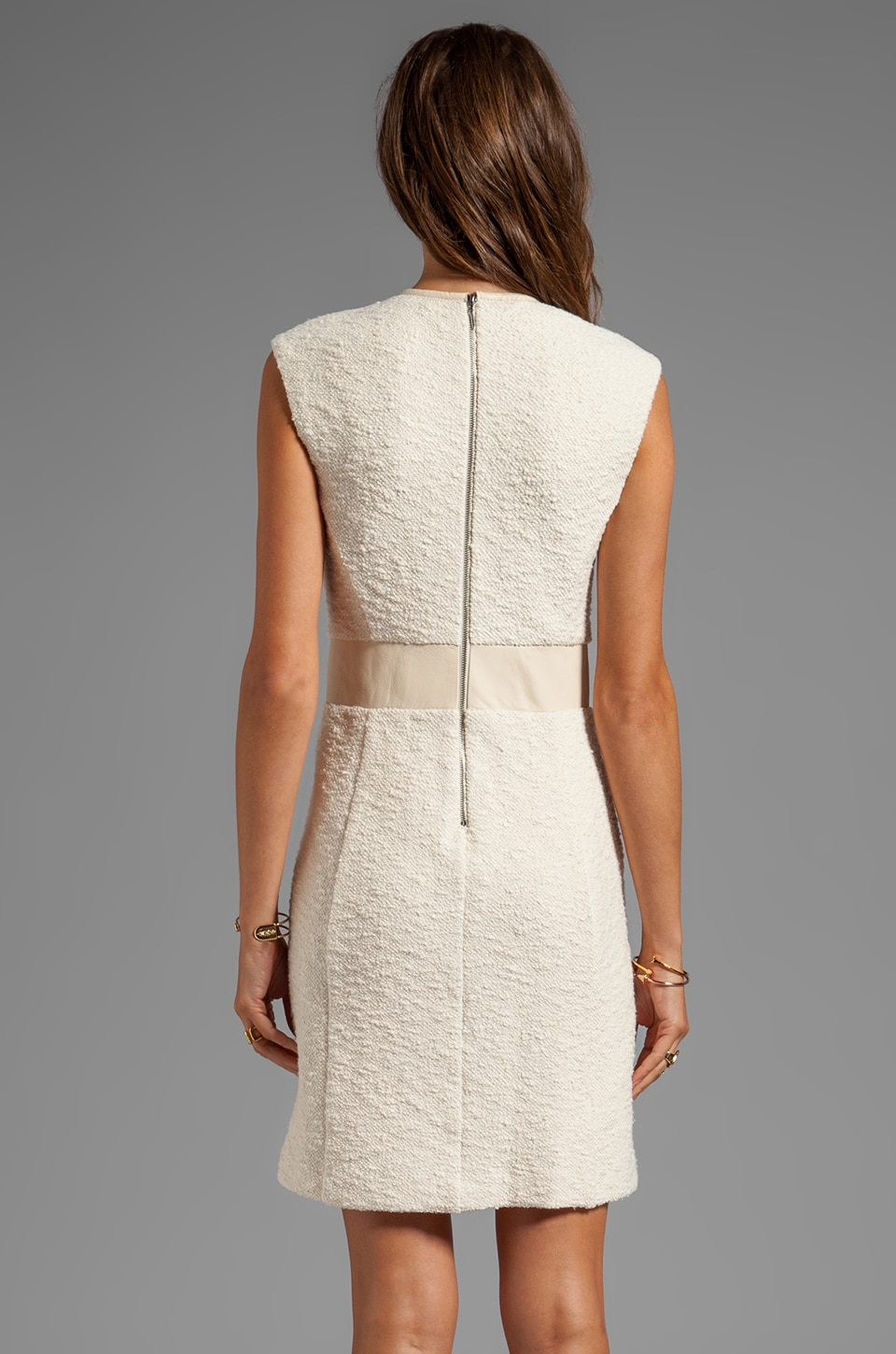 Rebecca Taylor Boucle Detailed Sheath Dress in Cream | REVOLVE