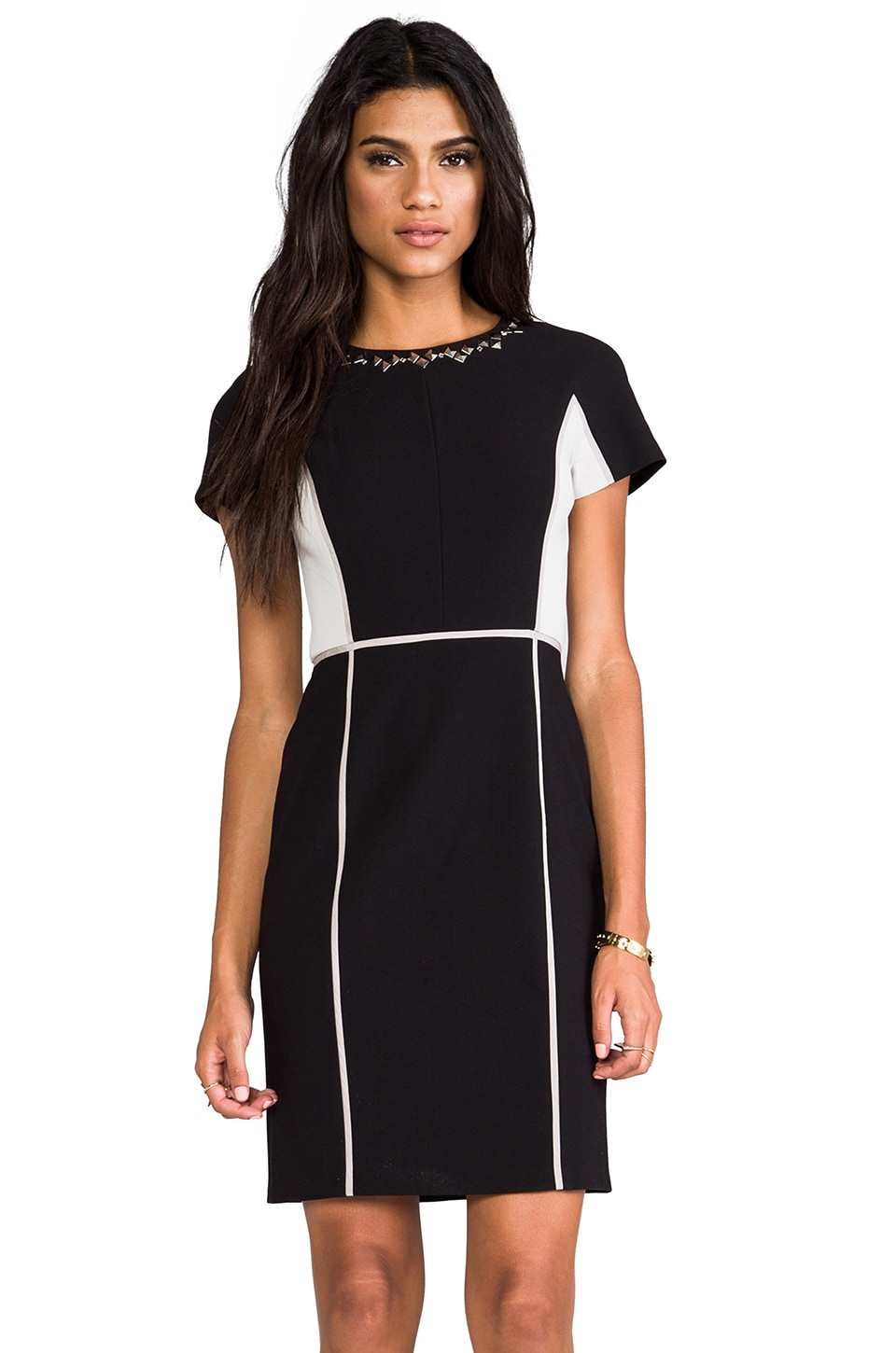 Rebecca Taylor Blocked Dress w/ Embellishment in Black/Shady
