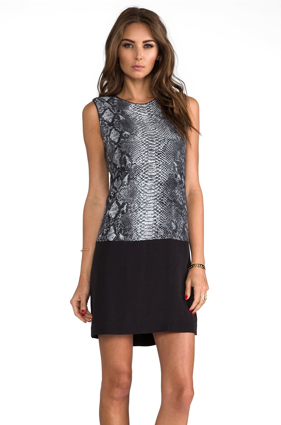 Rebecca Taylor Blocked Python Sleeveless Shift Dress in Stone