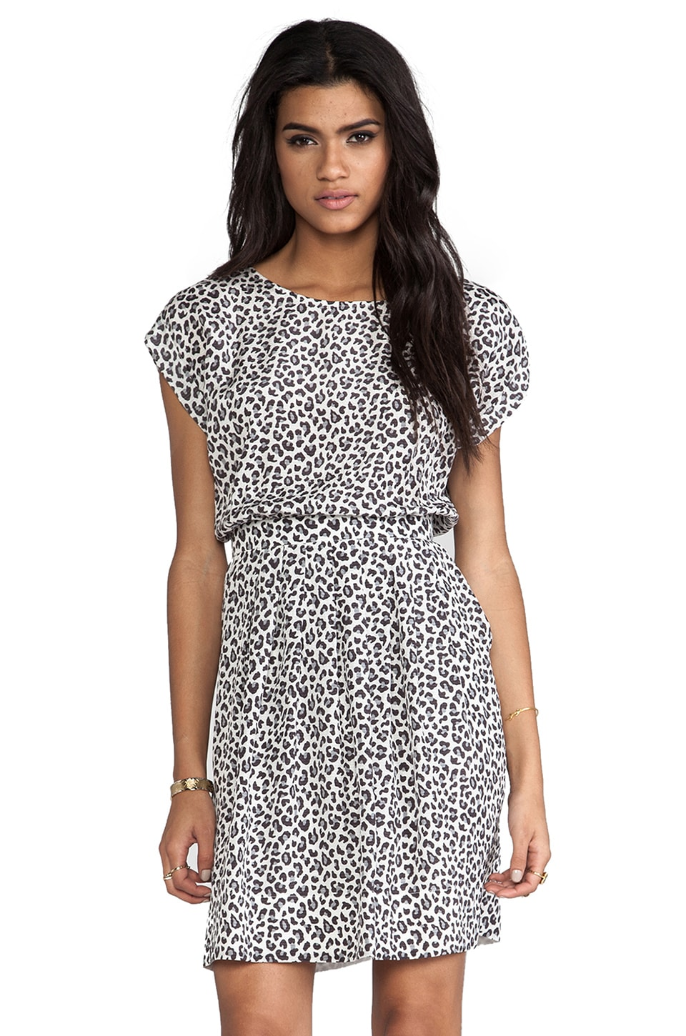 Rebecca Taylor Wildcat Dress in Cream & Grey