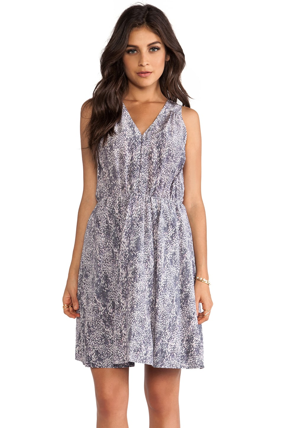 Rebecca Taylor Summer Rain Dress in Graphite Combo